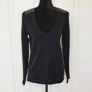 Zadig & Voltaire Black Sweater w Leather Patches